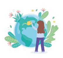girl with watering can pouring water world, save the planet protection nature and ecology concept