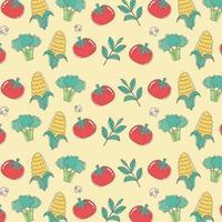 healthy food nutrition diet organic tomato corn broccoli background vector