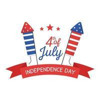 fuegos artificiales del día de la independencia con diseño de vector de cinta