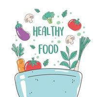 healthy food bowl with tomato eggplant carrot mushroom nutrition diet organic vector