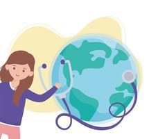 chica con estetoscopio y mundo, salva la protección del planeta contra el coronavirus covid 19, protege la naturaleza y el concepto de ecología vector