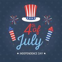 sombrero del día de la independencia y diseño vectorial de fuegos artificiales
