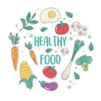 healthy food nutrition diet organic onion carrot egg corn eggplant fresh vector