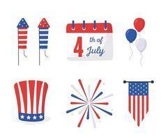 día de la independencia, iconos, conjunto, vector, diseño