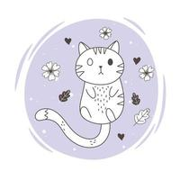 cute animals sketch wildlife cartoon adorable little cat flowers leaves vector