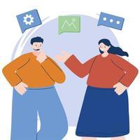 Hombre y mujer con diseño de vector de conjunto de iconos digitales