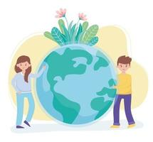 boy and girl with world flowers foliage protect nature and ecology vector