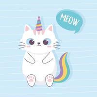 lindo gato con cuerno y cola de unicornio personaje de dibujos animados animal divertido vector