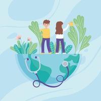 niño y niña con regadera vertiendo agua en el mundo, estetoscopio médico, salva el planeta protección contra el coronavirus covid 19, concepto de naturaleza y ecología vector