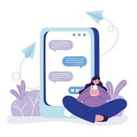 young woman with smartphone chatting sitting on floor vector