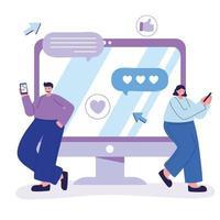 hombre y mujer joven con teléfono inteligente charlando en las redes sociales