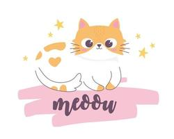 resting cute cat cartoon animal funny character vector