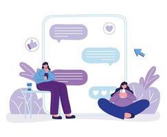 Las mujeres jóvenes que usan el sitio web del teléfono inteligente hablan de burbujas concepto de chat vector