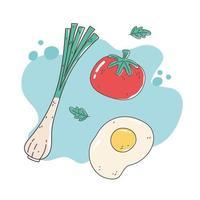 comida sana nutrición dieta orgánica cebolla tomate y huevo frito