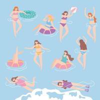 people dressed in swimwear in swimming pool, summer water activities vector