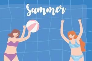 Piscina de verano con chicas e hinchable, jugando a la pelota. vector