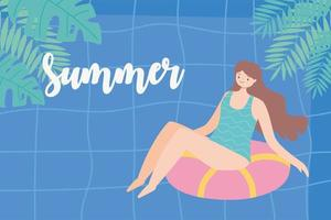 girl sunbath on ring in the swimming pool, summer vacations travel concept vector
