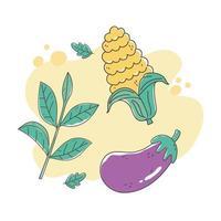 alimentos saludables nutrición dieta orgánica berenjena maíz y hierbas frescas