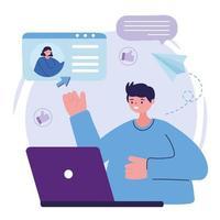 personaje de hombre joven con laptop hablar mujer charlando burbuja