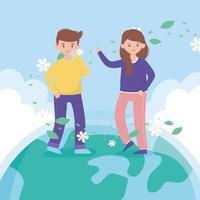 niño y niña de pie sobre el follaje de las flores del mundo protegen la naturaleza y la ecología vector