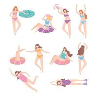 people dressed in swimwear relaxing and floating on inflatable with ball vector