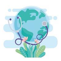 mundo con estetoscopio y flores, salva la protección del planeta contra el coronavirus covid 19, protege la naturaleza y el concepto de ecología vector