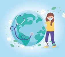 girl with medical mask and healthy world stethoscope, save the planet protection against coronavirus covid 19, protect nature and ecology concept vector