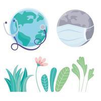 mundo con flores y máscara médica, estetoscopio y follaje, salva la protección del planeta contra el coronavirus covid 19, protege la naturaleza y el concepto de ecología vector