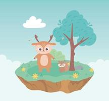 cute deer and squirrel animals cartoon standing meadow tree and flowers nature vector