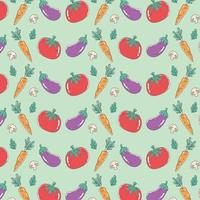 healthy food nutrition diet organic tomato eggplant carrot and mushroom background vector
