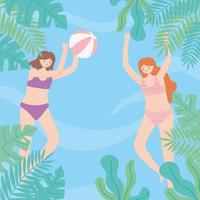 piscina de verano con niñas jugando a la pelota, tiempo de juego vector