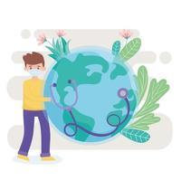 niño con máscara médica, estetoscopio y mundo, salva la protección del planeta contra el coronavirus covid 19, protege la naturaleza y el concepto de ecología vector