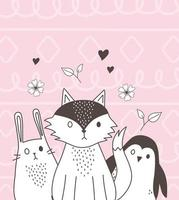 cute animals sketch wildlife cartoon adorable little rabbit fox penguin hearts flowers pink background