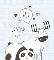 cute animals sketch wildlife cartoon adorable deer panda bird and hi bubble vector