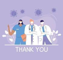 gracias médicos y enfermeras, médicos y personal de enfermería equipo del hospital