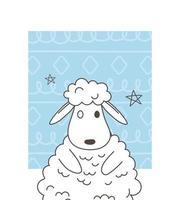 cute animals sketch wildlife cartoon adorable little sheep stars design vector