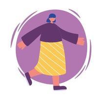 mujer joven con falda ropa caminando dibujos animados vector