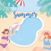 jóvenes de vacaciones en la piscina jugando y nadando