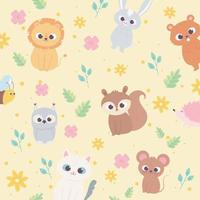 cute cartoon animals wild little lion squirrel bear raccoon cat flowers foliage background vector