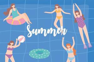 people dressed in swimwear in swimming pool, relaxing and floating on inflatable vector