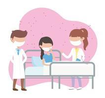 pandemia de coronavirus covid 19, médico masculino y femenino con paciente vector