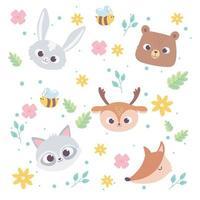 cute cartoon animals wild little faces rabbit bear deer fox and raccoon flowers bee background vector