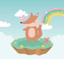 cute fox bird and mouse animals adorable with flowers and rainbow cartoon vector