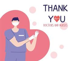 thank you doctors and nurses, male nurse with mask and gloves protection vector