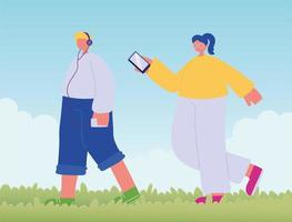 teenager walking with phone and and girl with mobile vector