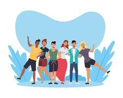 mujeres y hombres, avatares, amigos, vector, diseño