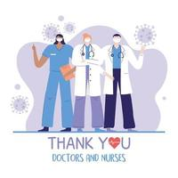 thank you doctors and nurses, team group physician and nurse occupation hospital vector