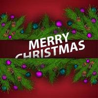 Merry Christmas, red greeting postcard with Christmas tree branches and 3d title vector