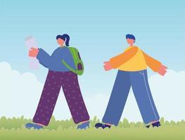 Adolescente con mapa y mochila y niño caminando en la hierba