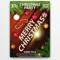 Christmas party poster design with wooden background decorated with Christmas tree branches, Christmas balls, candy canes and 3d title, top view vector